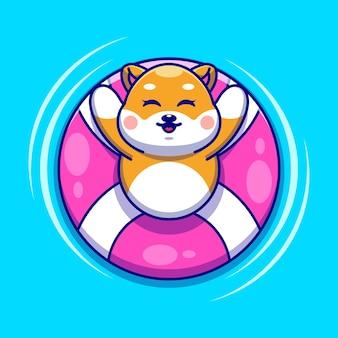 Śliczny pies shiba inu pływający z kreskówką z pierścieniem do pływania