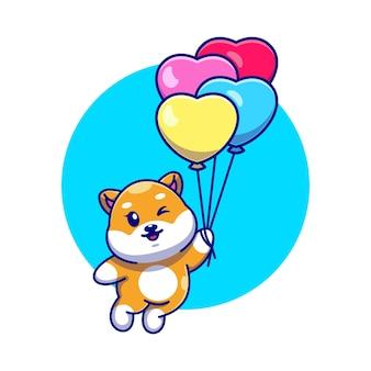 Śliczny pies shiba inu pływający z kreskówki balonu