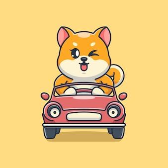 Śliczny pies shiba inu prowadzący kreskówkę samochodu car