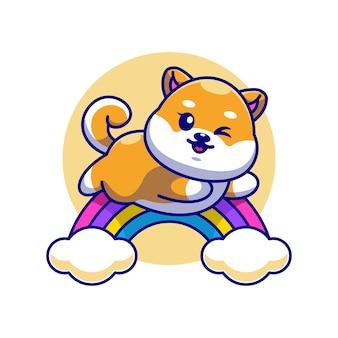 Śliczny pies shiba inu skaczący z tęczy kreskówki