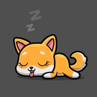 Śliczny pies shiba inu śpi na białym tle na czarnym tle.