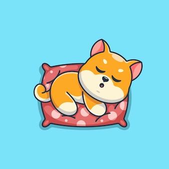 Śliczny pies shiba inu śpiący na poduszce z kreskówek