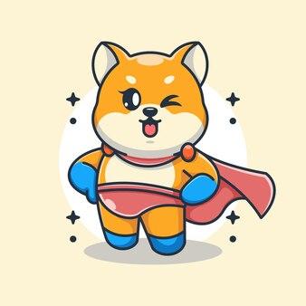 Śliczny pies shiba inu superbohater kreskówka