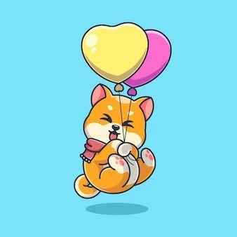 Śliczny pies shiba inu unoszący się z balonową kreskówką