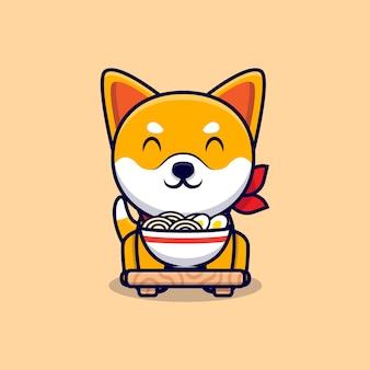 Śliczny pies shiba inu uwielbia ramen makaron kreskówka ikona ilustracja