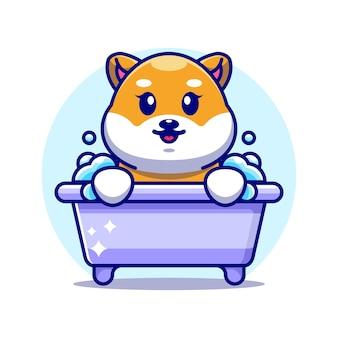 Śliczny pies shiba inu w wannie postać z kreskówki