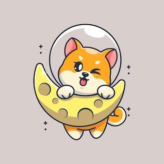 Śliczny pies shiba inu wiszący na kreskówce księżyca