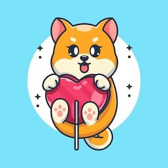 Śliczny pies shiba inu z kreskówką z cukierkowego serca