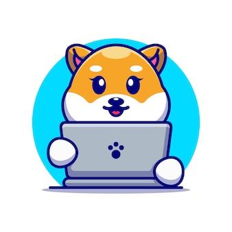 Śliczny pies shiba inu z projektem kreskówki laptopa
