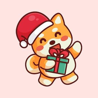 Śliczny pies shiba w świątecznym kapeluszu