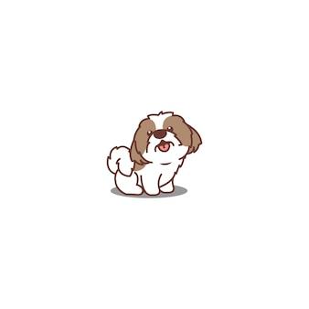 Śliczny pies shih tzu siedzi i uśmiecha się ilustracja kreskówka