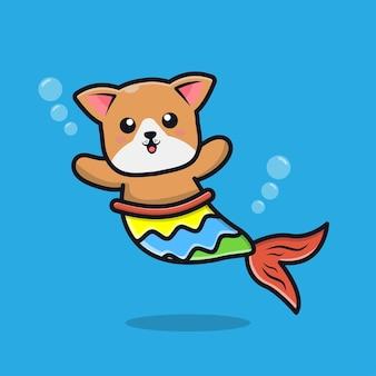 Śliczny Pies Syrena Ilustracja Kreskówka Premium Wektorów