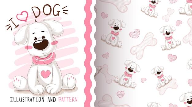 Śliczny pies, szczeniak - bezszwowy wzór
