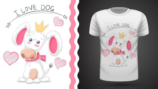 Śliczny pies, szczeniak - pomysłowy t-shirt z nadrukiem