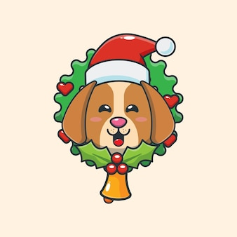 Śliczny pies w boże narodzenie śliczna świąteczna ilustracja kreskówka