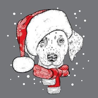 Śliczny pies w świątecznym kapeluszu i okularach przeciwsłonecznych. ilustracja dla karty z pozdrowieniami lub plakatu. zima, boże narodzenie i nowy rok. szczeniak.