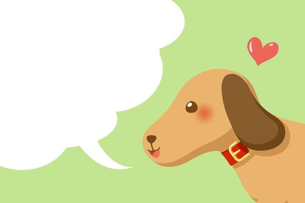 Śliczny pies z mowa bąbla przestrzeni tłem