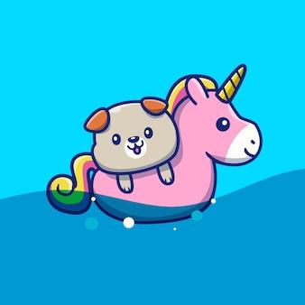 Śliczny pies z pływanie pierścionku jednorożec ikony ilustracją. zwierzęce lato ikony pojęcie odizolowywający. płaski styl kreskówek