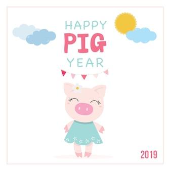 Śliczny ping szczęśliwy nowy rok 2019