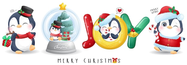 Śliczny pingwin doodle na zestaw ilustracji wesołych świąt