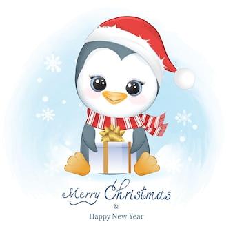 Śliczny pingwin i pudełko na prezent w zimowej świątecznej ilustracji
