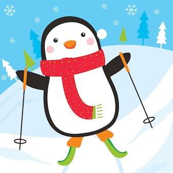 Śliczny pingwin jedzie na nartach na opadzie śniegu, ilustracja