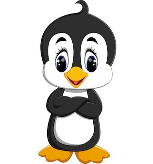 Śliczny pingwin kreskówki falowanie