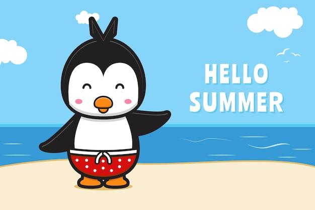 Śliczny pingwin machający ręką z letnim powitaniem transparent ikona ilustracja kreskówka
