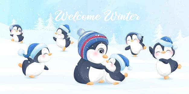 Śliczny pingwin na boże narodzenie z banerem akwarela