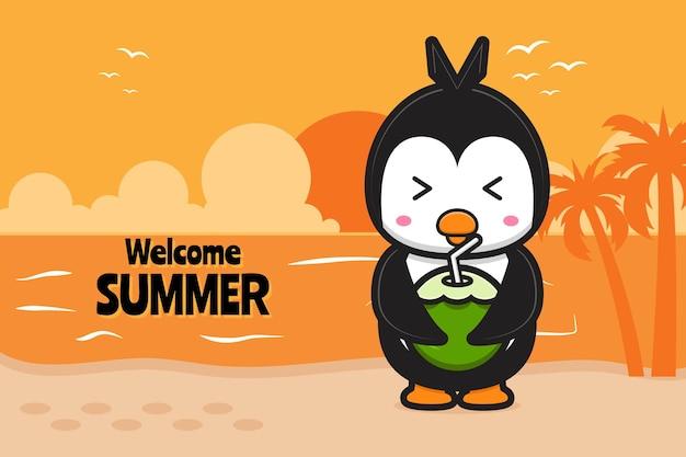 Śliczny pingwin pije kokos z letnim powitaniem transparent ikona ilustracja kreskówka cartoon