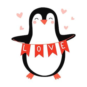 Śliczny pingwin pingwin zakochany wektor ręcznie rysowane ilustracja na romantyczne wydruki walentynki
