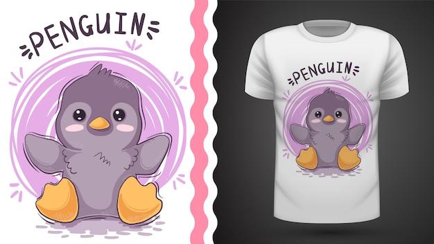 Śliczny pingwin, pomysł na t-shirt z nadrukiem