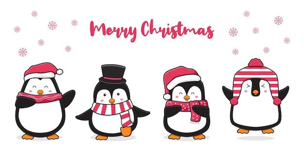 Śliczny pingwin pozdrowienie wesołych świąt kreskówka doodle ilustracja tło karty