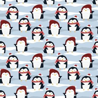 Śliczny pingwin w boże narodzenie zimowy wzór