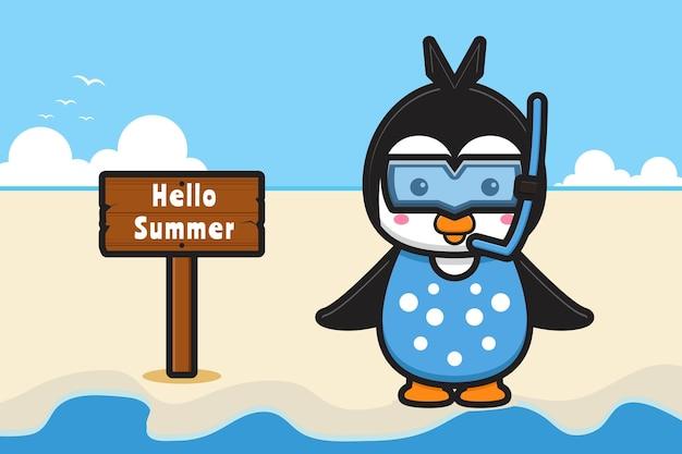 Śliczny pingwin w goglach z letnim banerem z pozdrowieniami ikona ilustracja kreskówka