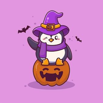 Śliczny pingwin w kapeluszu wiedźma siedząca na dyniowej kreskówce halloween