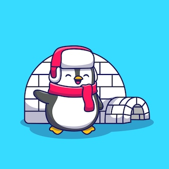 Śliczny pingwin z igloo ikony ilustracją. koncepcja ikona zwierzę na białym tle. płaski styl kreskówek