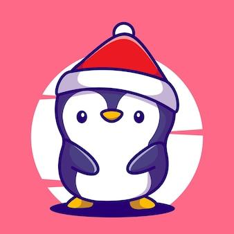 Śliczny pingwin z ślicznym śniegowym kapeluszem kreskówka maskotka ilustracja wektor ikona
