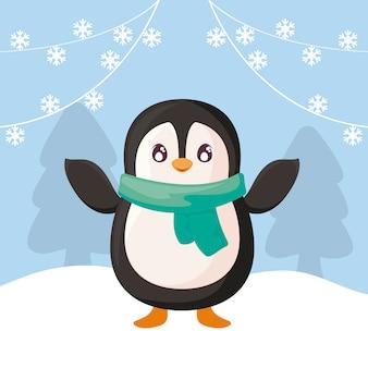 Śliczny pingwin z szalikiem na zima krajobrazie