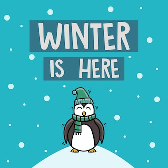 Śliczny pingwin z szalikiem zima jest tutaj