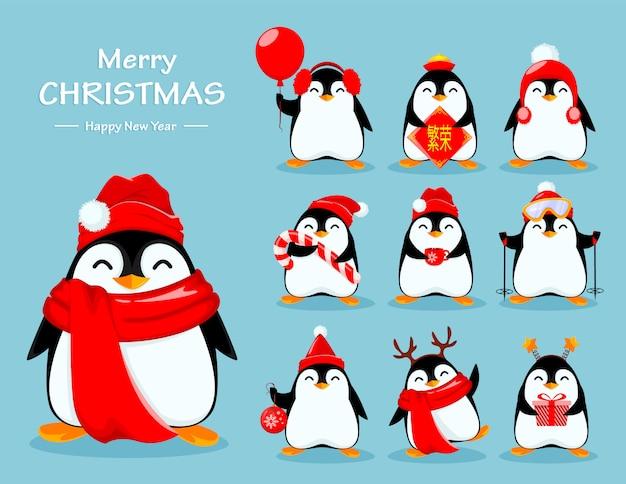 Śliczny pingwin, zestaw dziesięciu poz