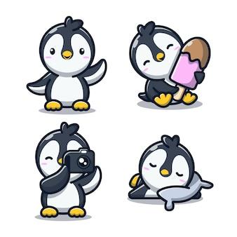 Śliczny pingwin zestaw ilustracji wektorowych kreskówka koncepcja miłości zwierząt izolowany wektor płaski styl kreskówki darmowych wektorów