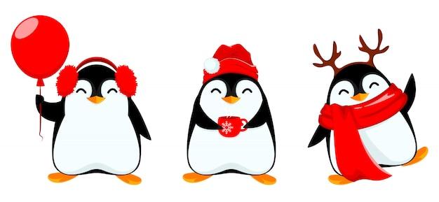 Śliczny pingwin, zestaw trzech poz