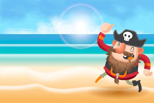 Śliczny pirata kreskówki tło