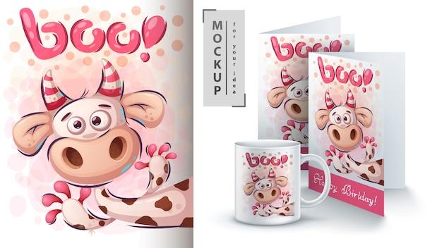 Śliczny plakat krowy i merchandising