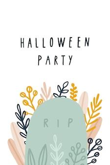 Śliczny plakat na halloween z ręcznie rysowaną ilustracją grobową