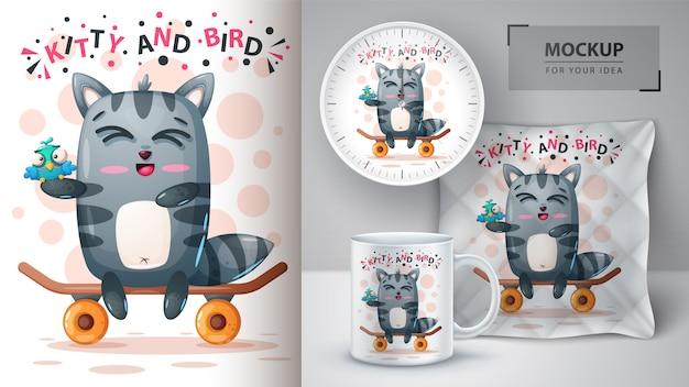 Śliczny plakat z kotem i ptakiem oraz merchandising