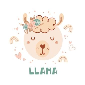 Śliczny plakat z twarzą dzikiej lamy i kwiatami w płaskim stylu dla dzieci. napis lamy. ilustracja ze zwierzęciem w pastelowych kolorach. nadruk na odzież dziecięcą i tekstylia. wektor