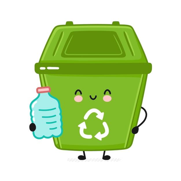 Śliczny pojemnik na śmieci z plastikową butelką