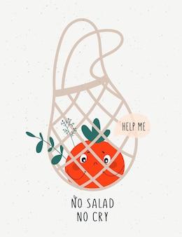 Śliczny pomidorowy warzywo w ekologicznej torbie